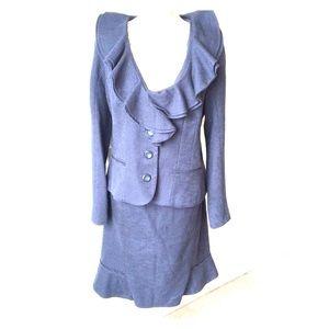 Magaschoni blue cotton/linen skirt suit set